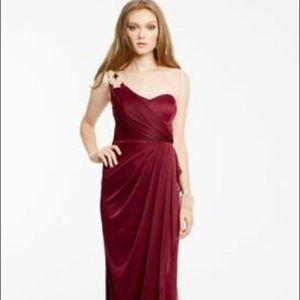 One shoulder long burgundy dress